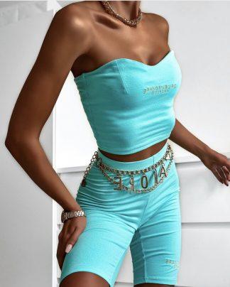 Luxusná Kraťasová Súprava BRAND BLUE s vyšívaným zlatým logom