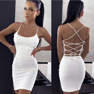 Elastické Šaty So Zaväzovaním SESSI WHITE so zaväzovaním na chrbte