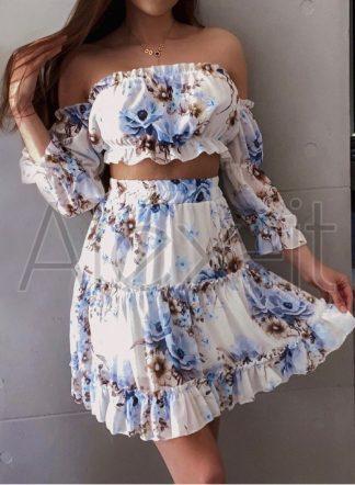 Modrá Kvetinová Súprava ROMANTIC top + sukňa, ľahké a vzdušné