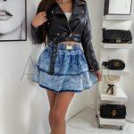 Riflová sukňa RIA viacradová a nariasená so zaujimavým acid sfarebním