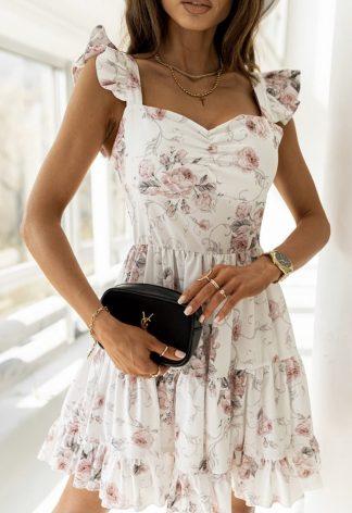Luxusné Kvetinkové Šaty SAMANTA s rafinovanými ramienkami