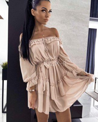 Béžové šaty MARBELLA letné, vzdušné, z elastického materiálu