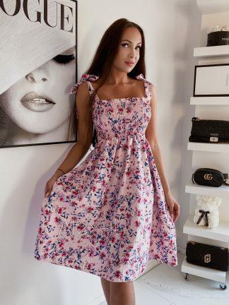Kvetinové šaty FLORA PINK s krásnym jemným kvetovaným vzorom