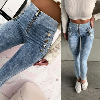 Melírované jeansové legíny ANTRACIT so zlatým zipsom a gombíkmi