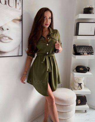 Košeľové šaty SIMPLY Army green z príjemného elastického materiálu