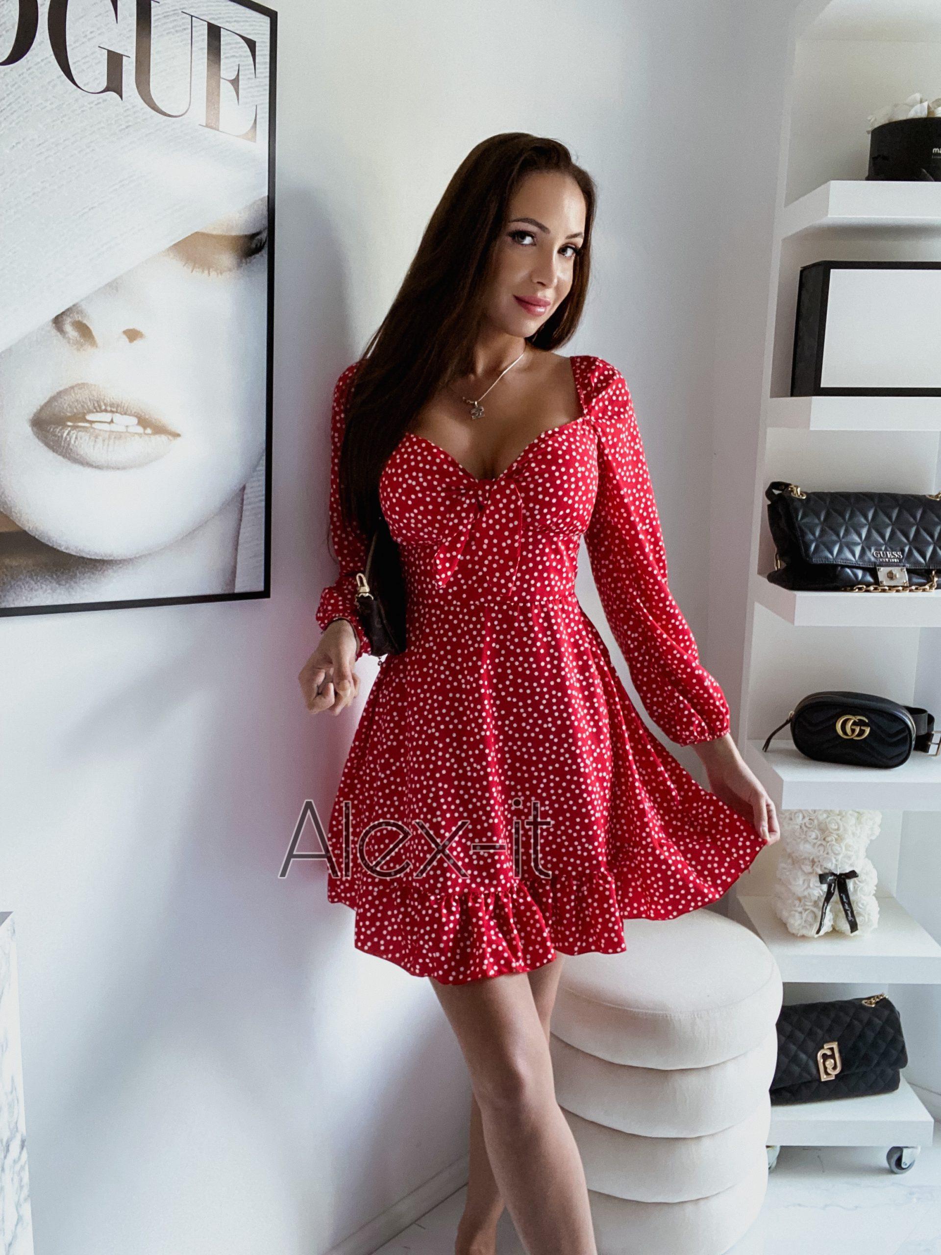 Červené šaty DOLLY RED vystužené, elastické, krásne riasenie na spodku