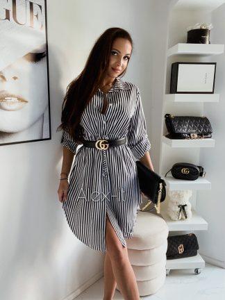 Pásikavé košeľové šaty LINIA z príjemného materiálu s gombíkmi